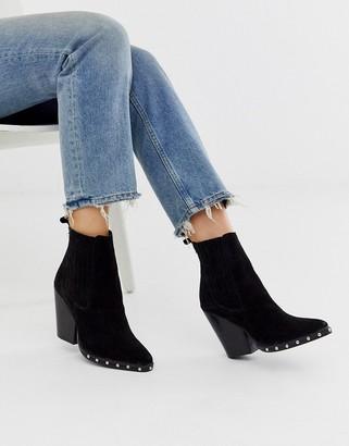 Asos DESIGN Relative suede studded heeled western boots in black