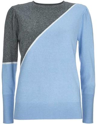 Mint Velvet Grey & Blue Puff Sleeve Jumper