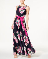 Jessica Howard Petite Floral-Print Pleated Maxi Dress