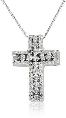 Silver Cross Fine Jewelry Womens 1/5 CT. T.W. Genuine White Diamond Sterling Pendant Necklace