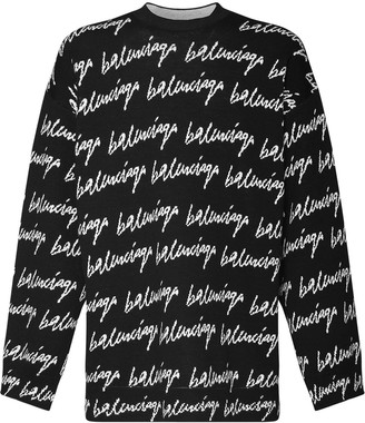 Balenciaga Over Logo Jacquard Knit Sweater