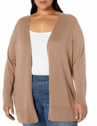 Amazon Essentials Plus Size Lightweight Open-front Cardigan Sweater Camel Heather 4X