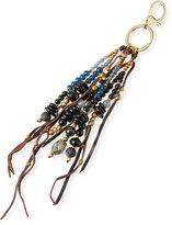 Nakamol Stone & Leather Fringe Key Chain, Black