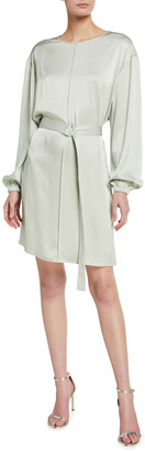 Sally LaPointe Stretch Crinkle Satin Belted Pintuck Dress