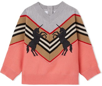BURBERRY KIDS Unicorn embroidered jumper