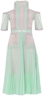 True Decadence Mint Pastel Multi Lace Pleated Midi Dress
