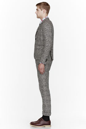 Thom Browne Off-white wool Glenplaid patterned suit