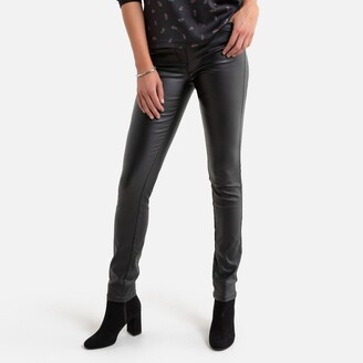 """Anne Weyburn Straight Faux Leather Trousers, Length 30.5"""""""