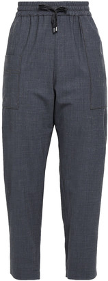 Brunello Cucinelli Cropped Bead-embellished Wool-blend Track Pants