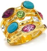 """RJ Graziano Glow On"""" Colored Crystal Multi-Row Band Ring"""