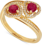 Macy's Ruby (3/4 ct. t.w.) and Diamond (1/8 ct. t.w.) Double Heart Ring in 14k Gold
