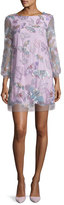 Marchesa 3/4-Sleeve Tulle Butterfly Tunic Cocktail Dress, Lilac