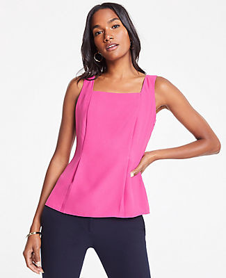 Ann Taylor Pleated Square Neck Tank