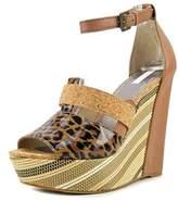 Rachel Roy Shainah Women Open Toe Synthetic Brown Wedge Sandal.