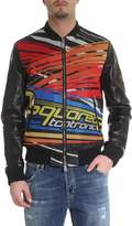 Dsquared2 Leather Printed Biker Jacket