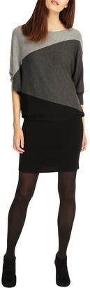 Phase Eight Becca Diagonal Block Dress, Black/Grey