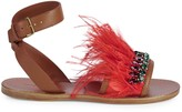 Miu Miu Feather & Crystal Embellished Sandals