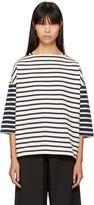 YMC Ecru and Navy Striped Sweatshirt