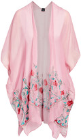 Lvs Collections LVS Collections Women's Kimono Cardigans CORAL - Coral Floral-Embroidered Cape-Sleeve Kimono - Women