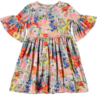 Molo Girl's Chasity Floral-Print Stretch Cotton Dress, Size 2-12