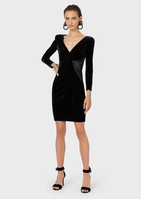 Emporio Armani Chenille-Jersey Sheath Dress With Rhinestoned Detail
