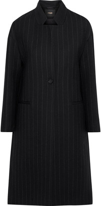 Maje Gremi Pinstriped Wool-blend Gabardine Coat