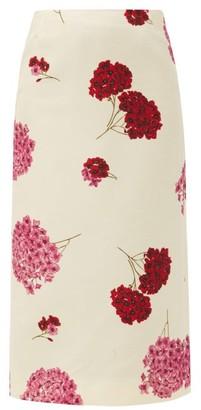 La DoubleJ Floral-print Wool-blend Crepe Skirt - White Print
