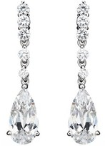 Crislu Platinum Over Silver Cz Legacy Pear Drop Earrings.