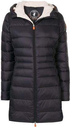 Save The Duck Fleece Long Hooded Puffer Jacket