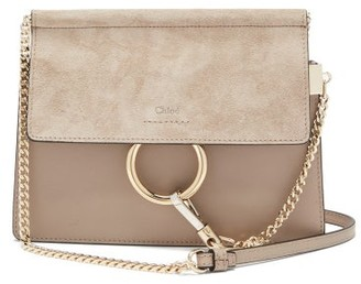 Chloé Faye Small Leather And Suede Cross-body Bag - Grey