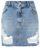 Topshop Moto rip denim mini skirt