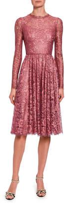 Dolce & Gabbana Lame Chantilly Lace Long-Sleeve Dress