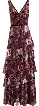 Marchesa Tiered Metallic Devore-velvet Gown