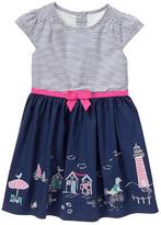 Gymboree Navy Stripe Beach-Border Cap-Sleeve Dress - Infant & Toddler