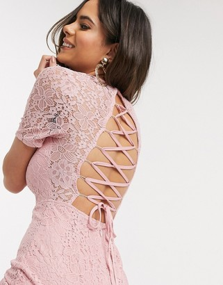 In The Style lace up back dress in light pink