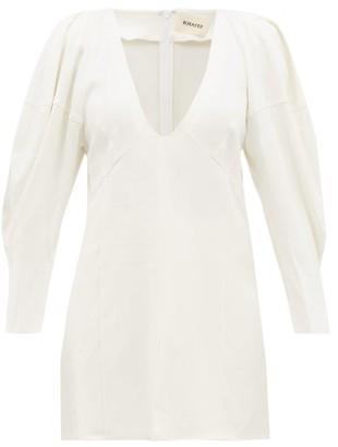 KHAITE Jenny Blouson-sleeve Canvas Top - White