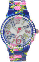 Betsey Johnson Women's Pink Floral Printed Blue Stainless Steel Bracelet Watch 42mm BJ00482-08