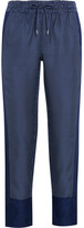 Equipment Hadley Printed Silk-twill Track Pants - Navy
