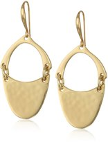 "Robert Lee Morris Tenacious Tortoise"" Hammered Texture Sculptural Oval Drop Earring"