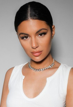 Missguided Silver Look Crystal Choker