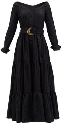 Taller Marmo Margherita Belted Jacquard Midi Dress - Black
