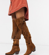 Chio Exclusive fringed over the knee western boots in tan suede