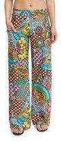 Trina Turk Madagascar Paisley-Print Wide-Leg Coverup Pants