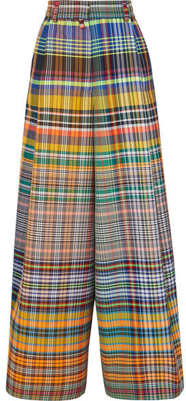 Dries Van Noten Checked Crepe Wide-leg Pants - Yellow