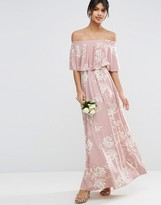 Asos WEDDING Off Shoulder Frill Maxi Dress in Print