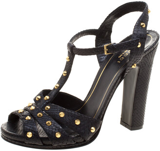 Gucci Black Studded Python Leather T-Strap Slingback Sandals Size 37.5