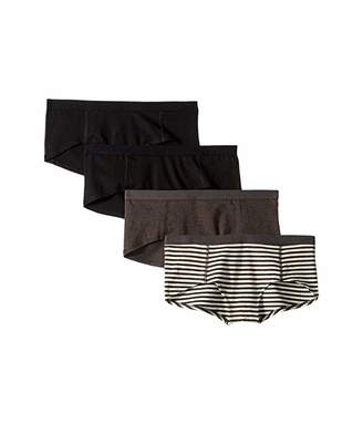 Pact Everyday Organic Cotton Boyshorts 4-Pack (Black/Charcoal Stripe/Charcoal Grey) Women's Underwear