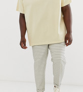 Asos Design DESIGN Plus tapered crop smart trousers in cream waffle stripe