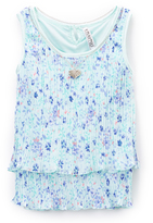 Beautees Turquoise & Purple Floral Tiered Tank - Girls
