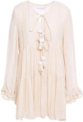 SUNDRESS Ruffled Embellished Metallic Gauze Mini Dress
